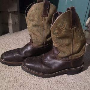 Justin steel toe cowboy boots